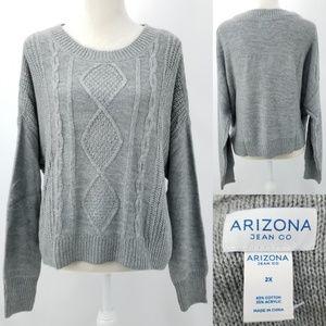 Arizona Cable Soft Cotton Acrylic Sweater Jrs 2X